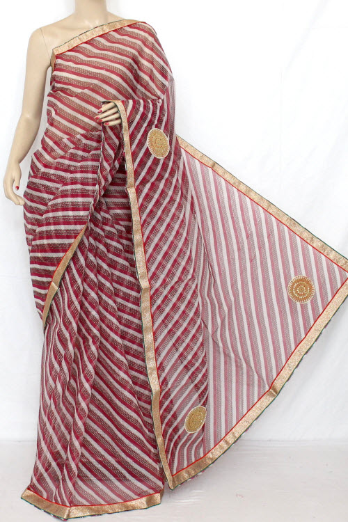 Rani (Red) Hand Woven Traditional Laharia Kota Saree (With Blouse - Cotton) 12631
