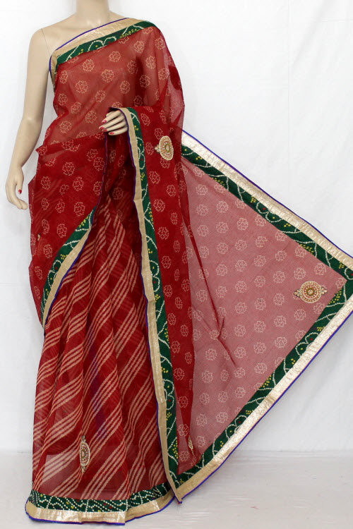 Red Hand Woven Traditional Laharia Kota Saree (With Blouse - Cotton) 12632