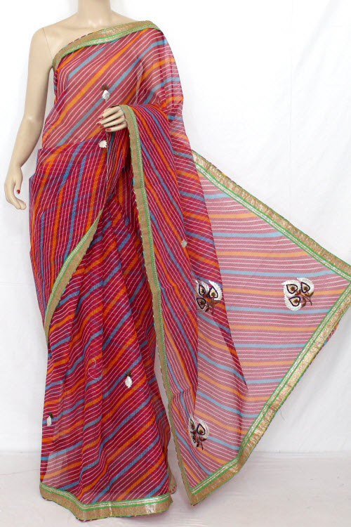 Rani (red) Hand Woven Traditional Laharia Kota Saree (with Blouse - Cotton) 12634