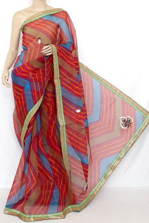 Rani (Red) Hand Woven Traditional Laharia Kota Saree (With Blouse - Cotton) 12636