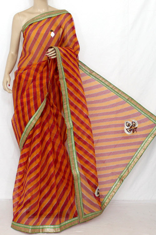 Red Hand Woven Traditional Laharia Kota Saree (With Blouse - Cotton) 12637