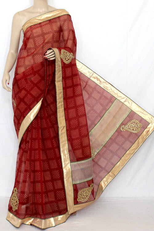 Red Hand Woven Traditional Chunri Kota Saree (With Blouse - Cotton) 12641