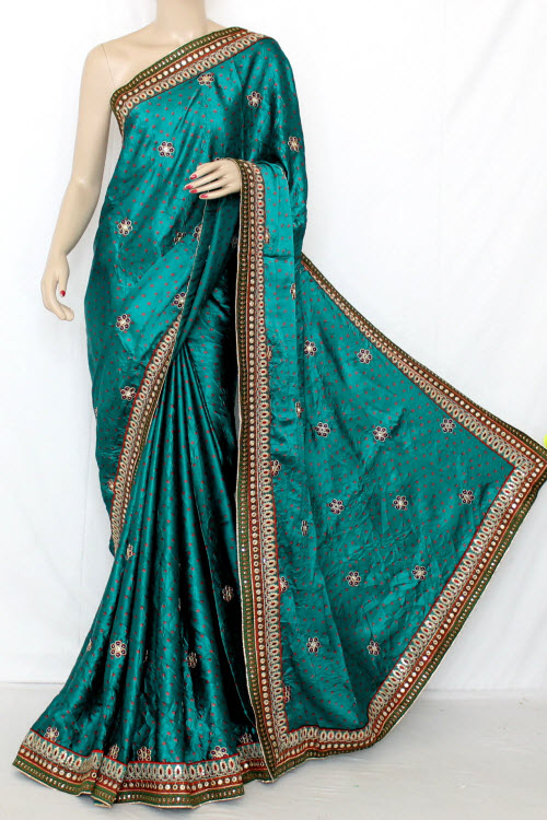 Pherozi Blue Exclusive Bandhani Style (Tie-n-Die) Satin Saree (With Blouse ) 12642