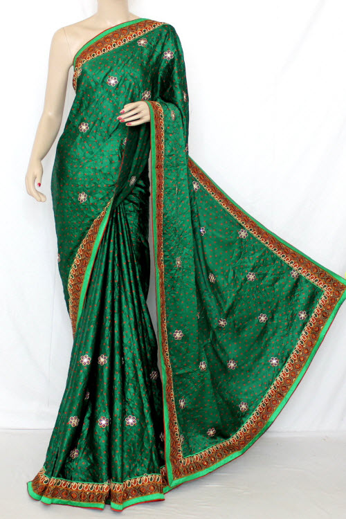 Green Exclusive Bandhani Style (Tie-n-Die) Satin Saree (With Blouse ) 12644