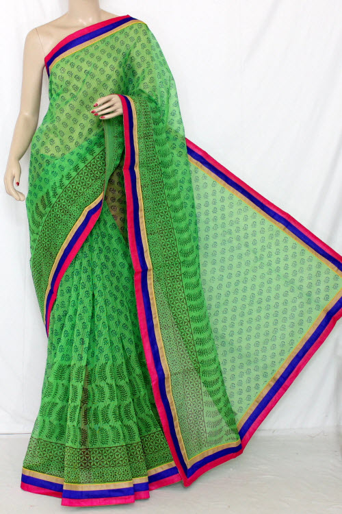 Green Block Printed Supernet Kota Saree (With Contrast Blouse) 12649