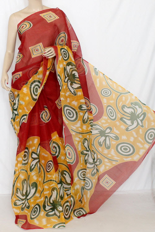Maroon Real JP Kota Doria Printed Cotton Saree (without Blouse) 12665