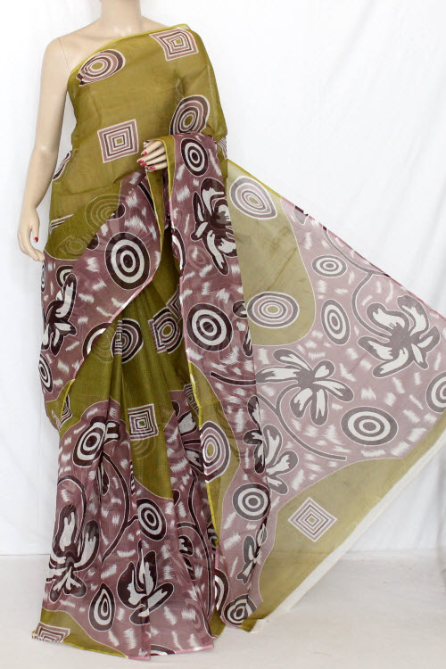 Menhdi Green Real JP Kota Doria Printed Cotton Saree (without Blouse) 12666
