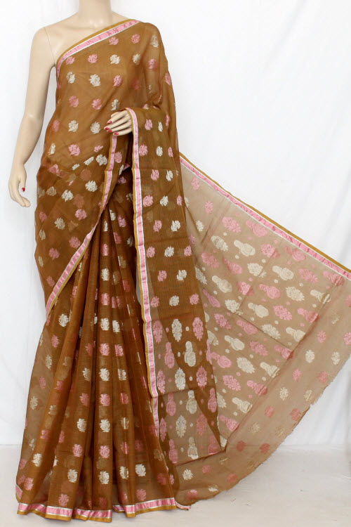 Brown Handloom Kota Pink Booti Supernet Saree (with Blouse) 12679