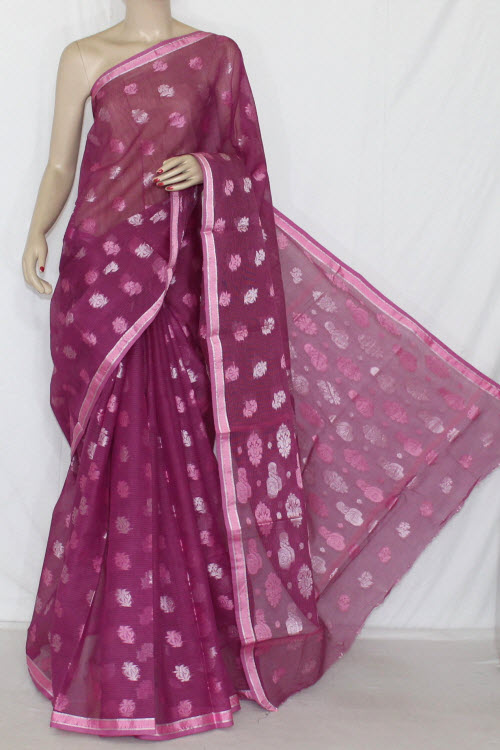 Magenta Handloom Kota Pink Booti Supernet Saree (with Blouse) 12688