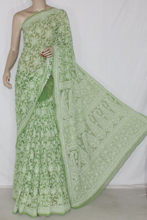 Green Allover Hand Embroidered Lucknowi Chikankari Saree (With Blouse - Georgette) 12700
