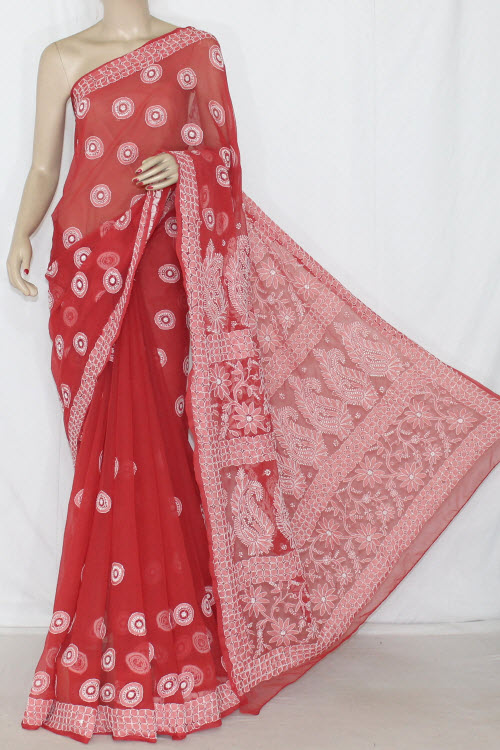Redish Rust Hand Embroidered Lucknowi Chikankari Saree (With Blouse - Georgette) 12709