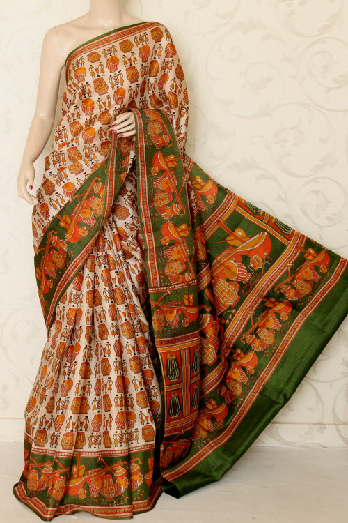 Tusser Art Silk Printed Sarees (With Blouse) 12737