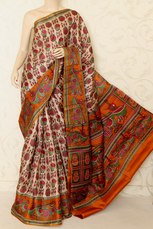 Tusser Art Silk Printed Saree (With Blouse) 12740