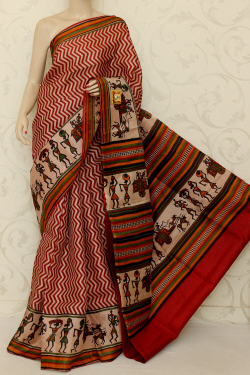 Tusser Art Silk Printed Saree (With Blouse) 12742