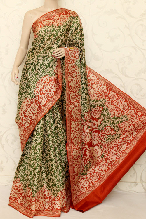 Tusser Art Silk Printed Saree (With Blouse) 12743