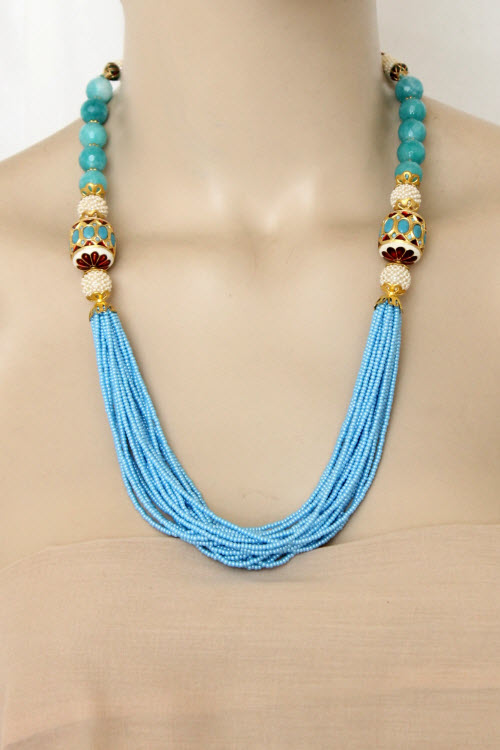 Pherozi Blue Designer 23.5k Gold Plated Moti Mala (Necklace) 12767