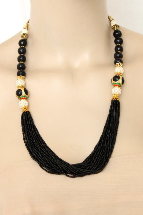 Black Designer 23.5k Gold Plated Moti Mala (Necklace) 12771