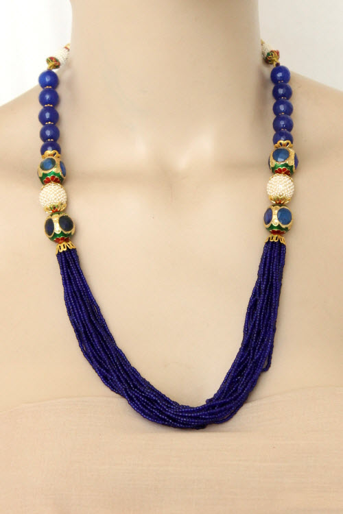 Nevy Blue Designer 23.5k Gold Plated Moti Mala (Necklace) 12774