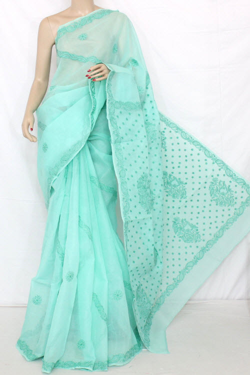 Lucknowi Chikankari Saree (With Blouse - Cotton) 12791