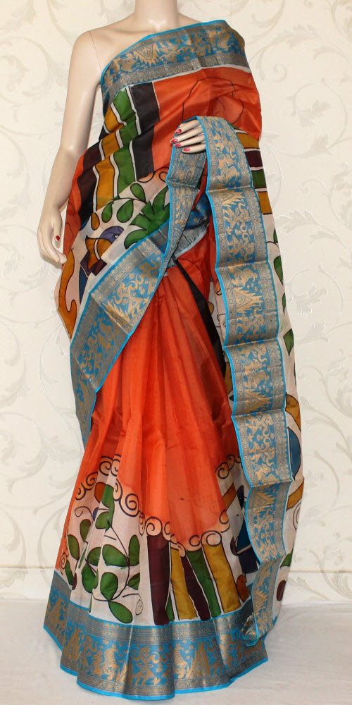 Designer Handprinted Pure Silk Saree 12929
