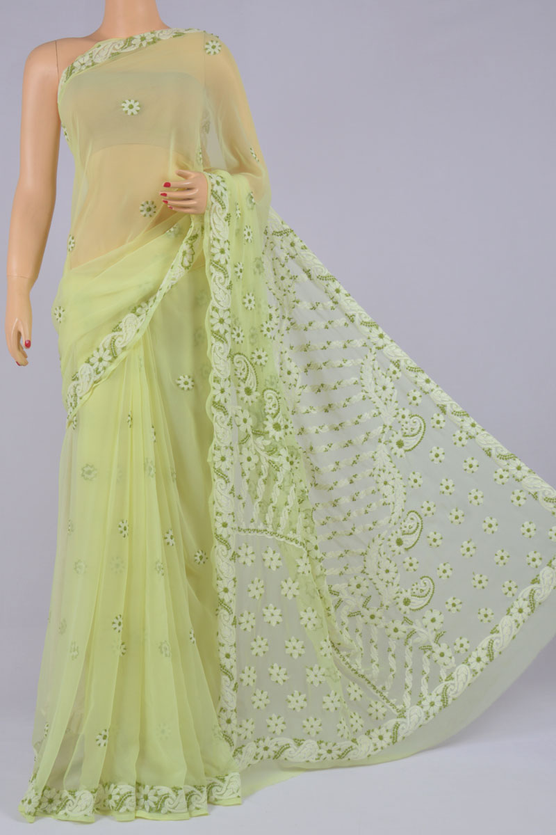 Spring Green Color Hand Embroidered Designer Lucknowi Chikankari Saree (With Blouse - Georgette) SS250197