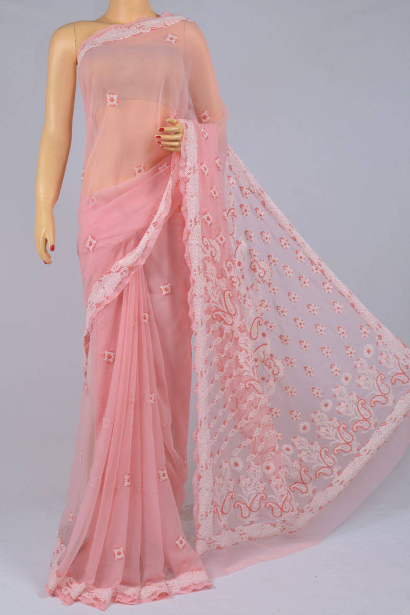 Rose Color Hand Embroidered Designer Lucknowi Chikankari Saree (With Blouse - Georgette) SS250198