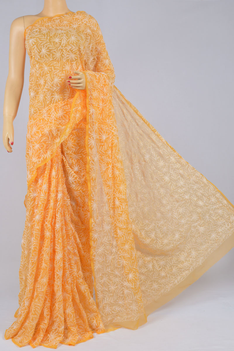 Sunrise Orange Color Tepchi Work Hand Embroidered Lucknowi Chikankari Saree (With Blouse - Georgette) SS250199