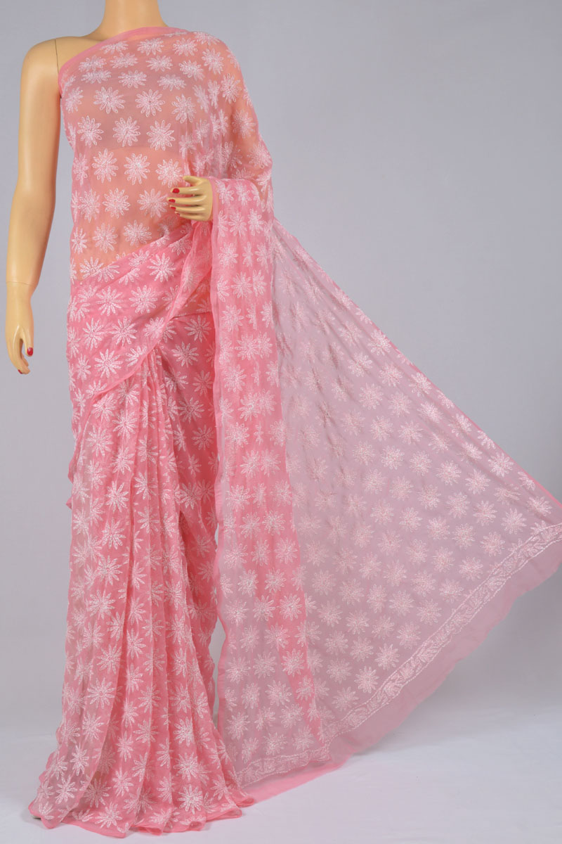 Pink Color Tepchi Work Hand Embroidered Lucknowi Chikankari Saree (With Blouse - Georgette) SS250202