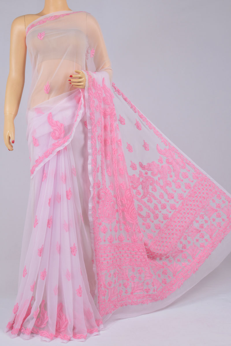 Lavender Color Hand Embroidered Heavy Palla Lucknowi Chikankari Saree (With Blouse - Georgette) MC250203