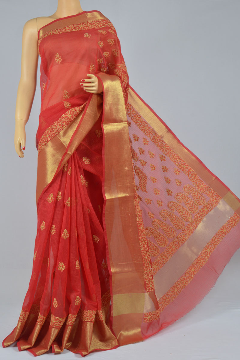 Red Color Chanderi Cotton Hand Embroidered Zari Border Saree (With Blouse) SS250204