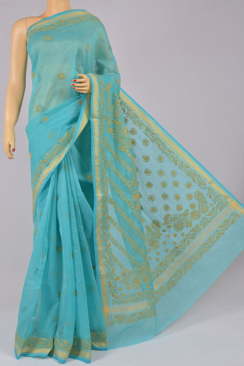 Blue Color Chanderi Cotton Hand Embroidered Zari Border Saree (With Blouse) SS250205