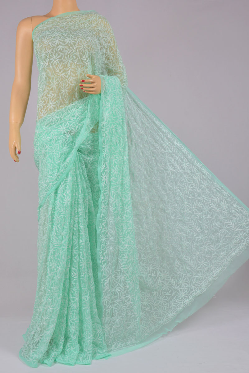 Light Green Color Tepchi Work Hand Embroidered Lucknowi Chikankari Saree (With Blouse - Georgette) SS250205