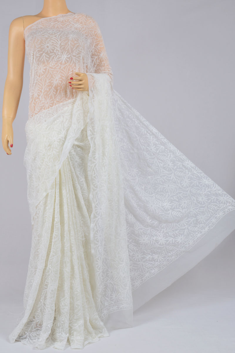 White Color Tepchi Work Hand Embroidered Lucknowi Chikankari Saree (With Blouse - Georgette) SS250206