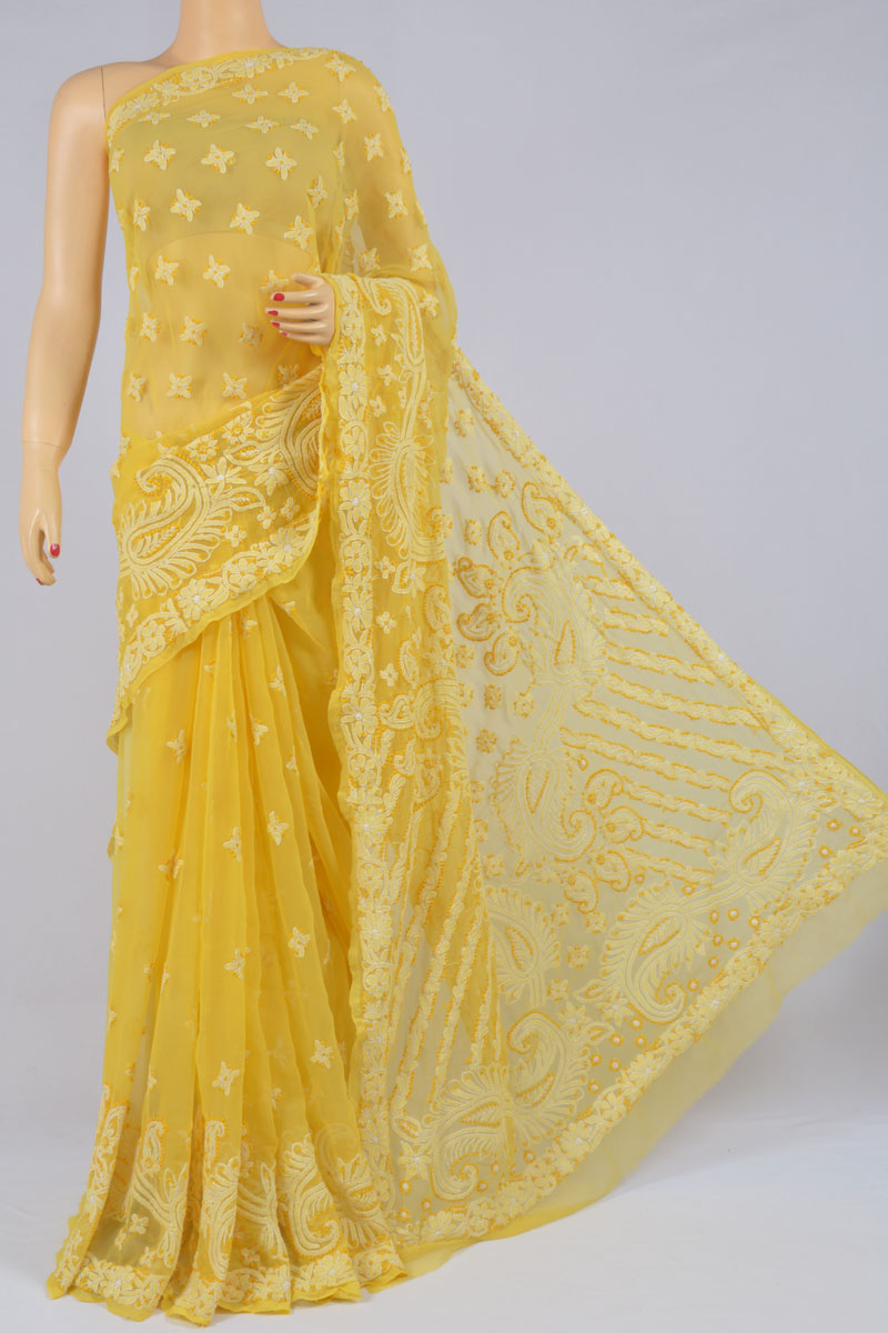 Yellow Color Hand Embroidered Lucknowi Chikankari Designer Saree (With Blouse) SS250208