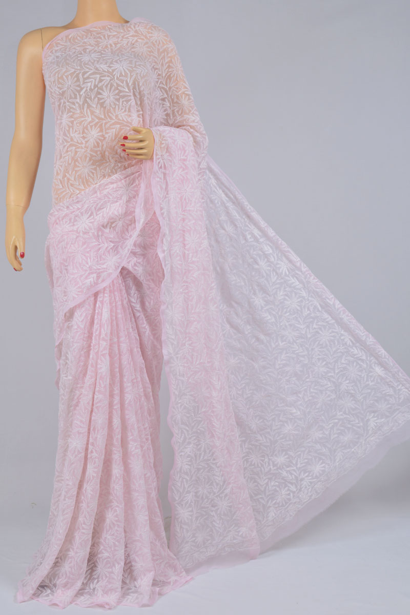 Lavender Color Tepchi Work Hand Embroidered Lucknowi Chikankari Saree (With Blouse - Georgette) SS250196