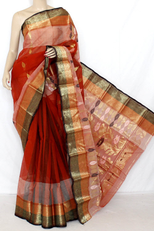 Rust Handwoven Bengal Tant Cotton Saree (Without Blouse) 13012