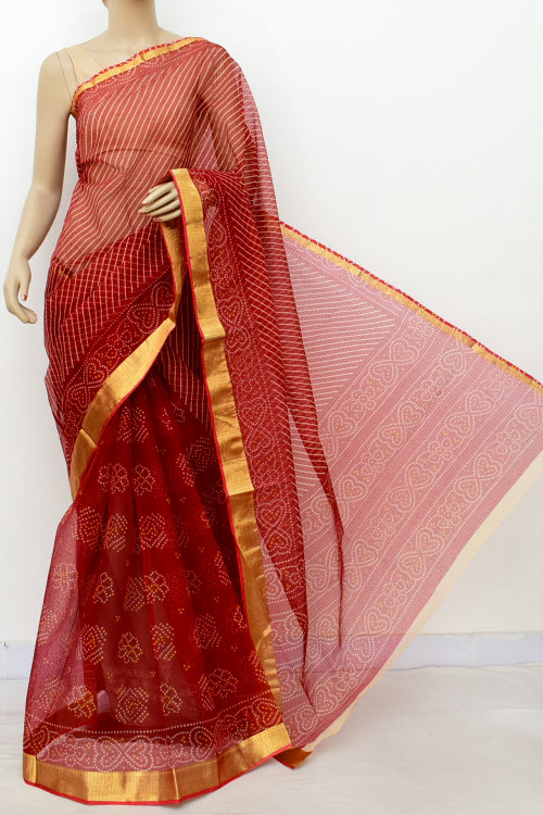 Premium Jp Kota Doria Floral Print Cotton Saree (without Blouse) 13514