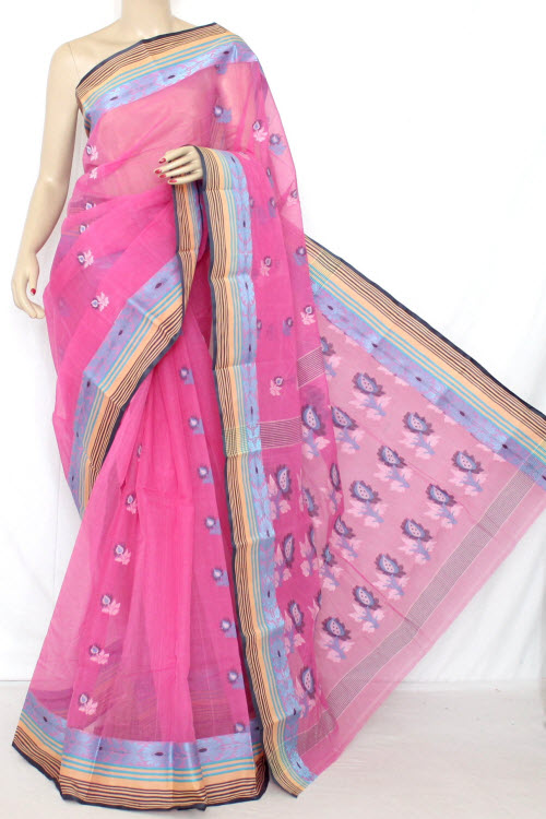 Pink Handwoven Bengal Tant Cotton Saree (Without Blouse) 13028