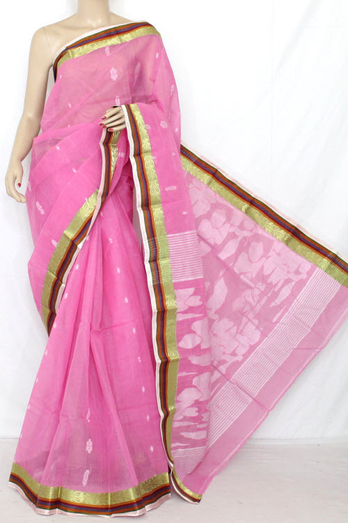 Pink Handwoven Bengal Tant Cotton Saree (Without Blouse) 13034