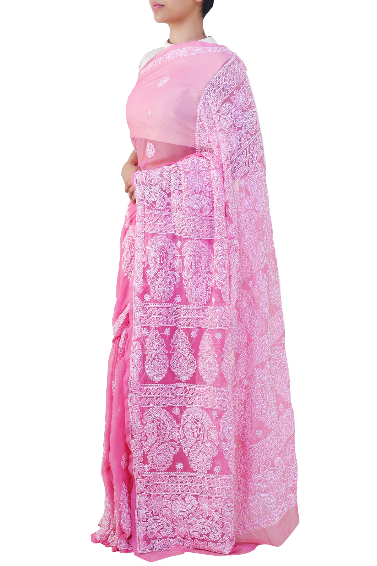 Onion Color Hand Embroidered Chadhi Work Lucknowi Chikankari Saree (With Blouse - Georgette) KC250674