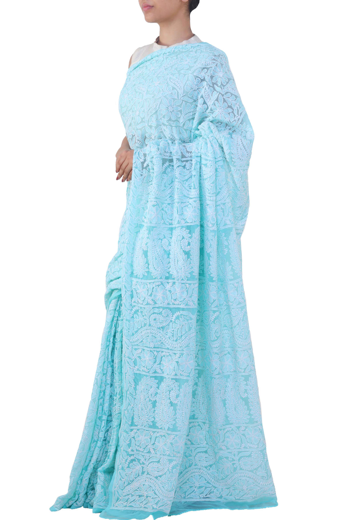 Skyblue Color, Allover Heavy Palla Hand Embroidered Lucknowi Chikankari Saree (With Blouse - Georgette) HS250677