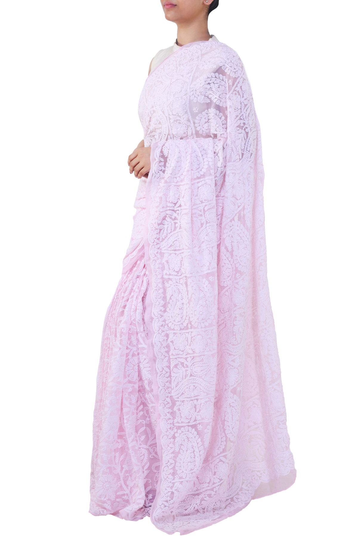 Baby Pink Color Allover Hand Embroidered Lucknowi Chikankari Saree (With Blouse - Georgette) SM250678