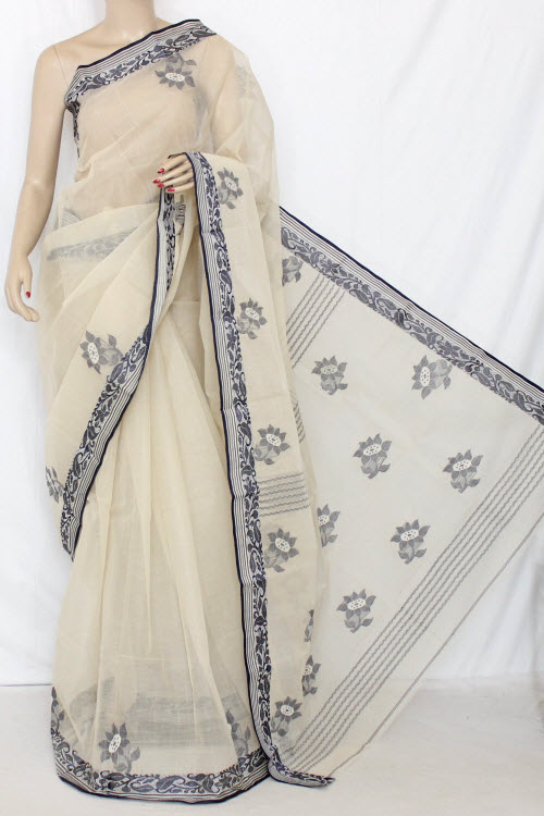 Beige Handwoven Bengal Tant Cotton Saree (With Blouse) 13054
