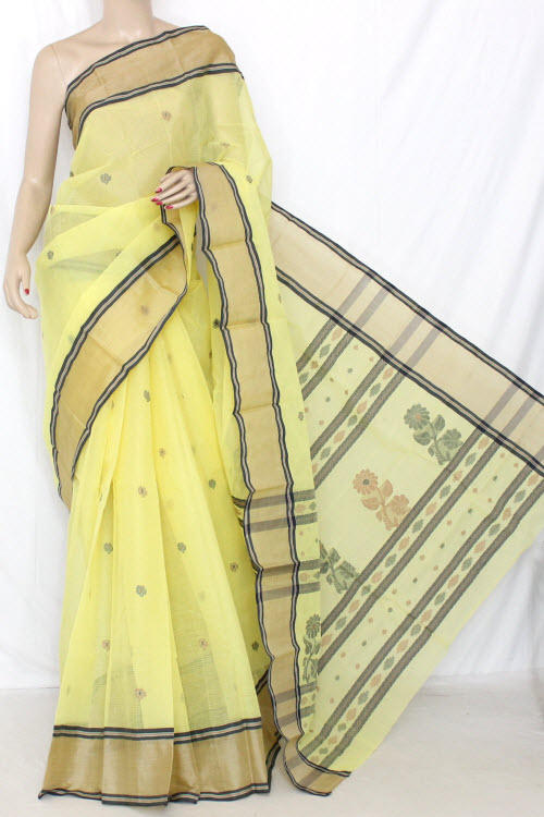Lemon Yellow Handwoven Bengal Tant Cotton Saree (With Blouse) Munga Border 13061