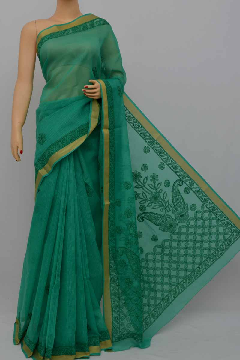 Ferngreen Color Hand Embroidered Lucknowi Chikankari Saree (With Blouse - Cotton) MY250421