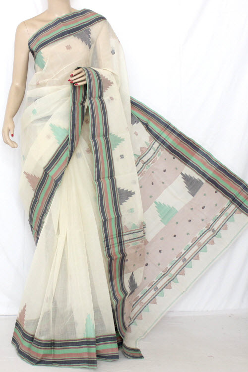 Off White Temple Border Handwoven Bengal Tant Cotton Saree (Without Blouse) 13091