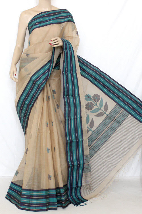 Fawn Color Handwoven Bengal Tant Cotton Saree (With Blouse) 13093