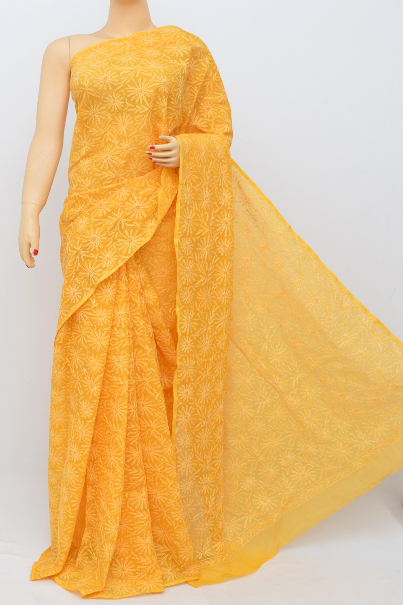 Honey Yellow Color Allover Kota Cotton Tepchi Work Hand Embroidered Lucknowi Chikankari Saree (Without Blouse) SS250515