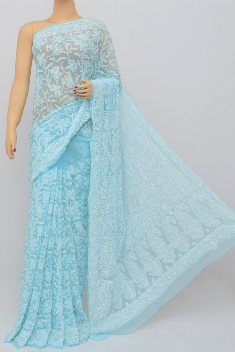 Blue Color, Allover Jaal Heavy Palla Hand Embroidered Lucknowi Chikankari Saree (With Blouse - Georgette) SS250516