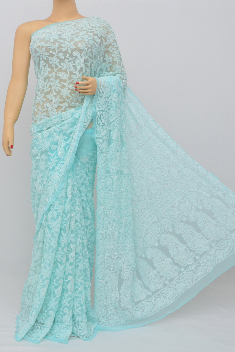 Columbia Blue Color, Allover Jaal Heavy Palla Hand Embroidered Lucknowi Chikankari Saree (With Blouse - Georgette) MC250518